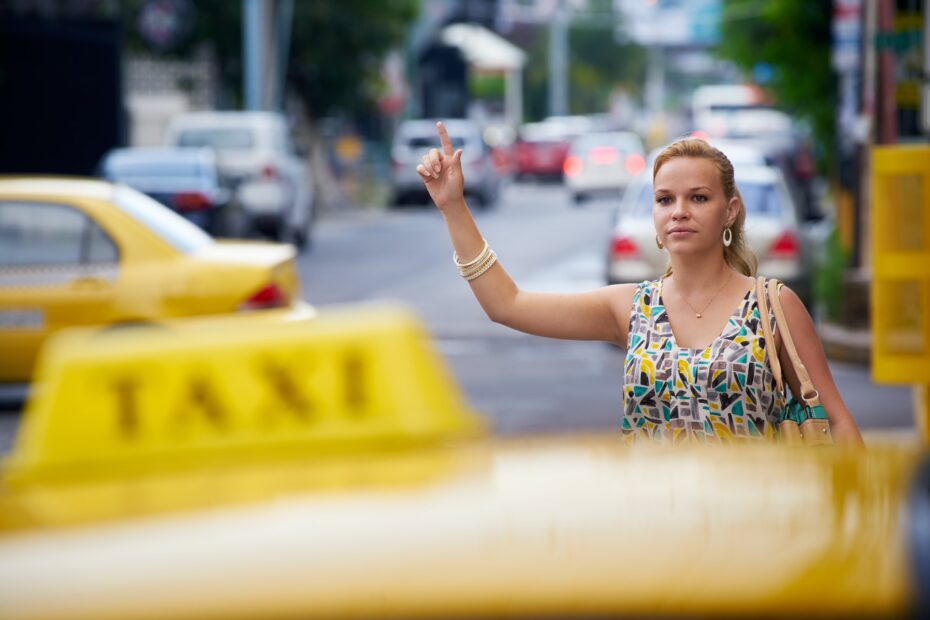 People Travelling Business Woman Stopping Yellow Taxi